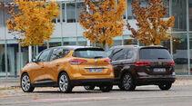 Renault Scénic dCi 130, VW Touran 2.0 TDI, Heckansicht