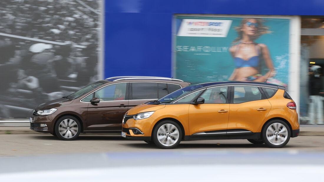 Renault Scénic dCi 130, VW Touran 2.0 TDI, Seitenansicht