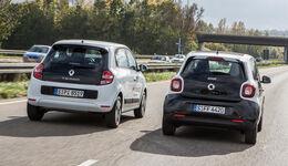 Renault Twingo SCe 70 Energy, Smart Forfour 1.0, Heckansicht