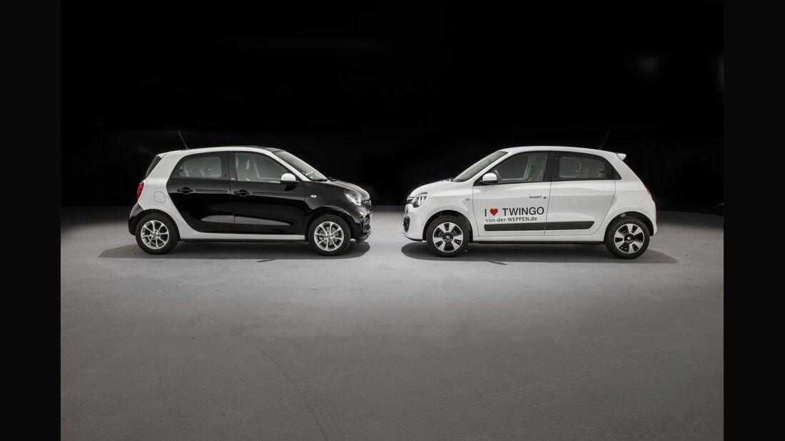 Renault Twingo SCe 70 Energy, Smart Forfour 1.0, Seitenansicht