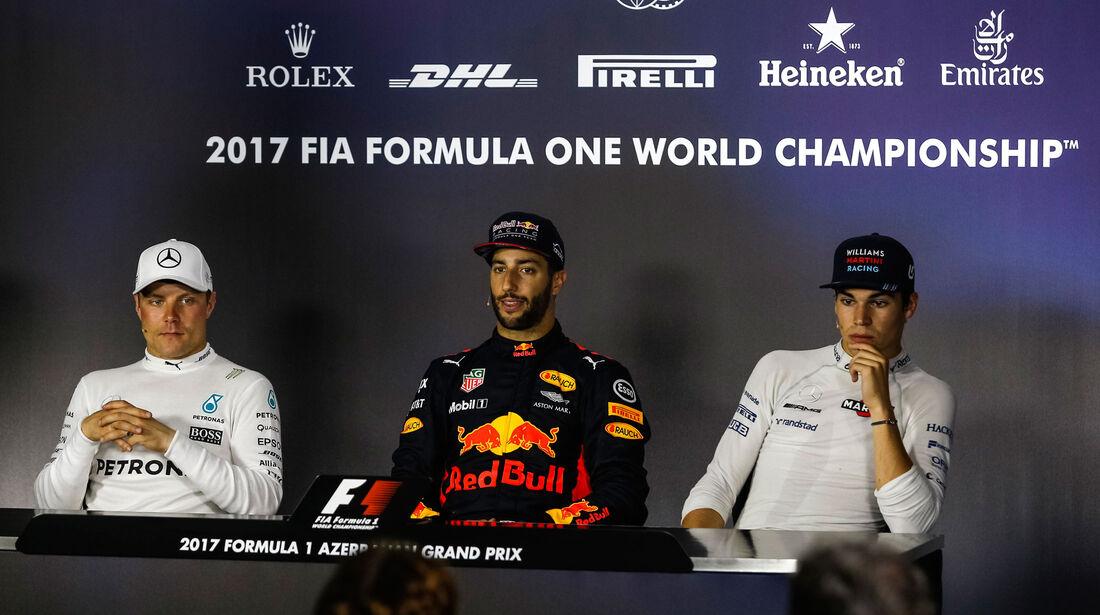 Ricciardo - Bottas - Stroll - GP Aserbaidschan 2017 - Baku - Rennen