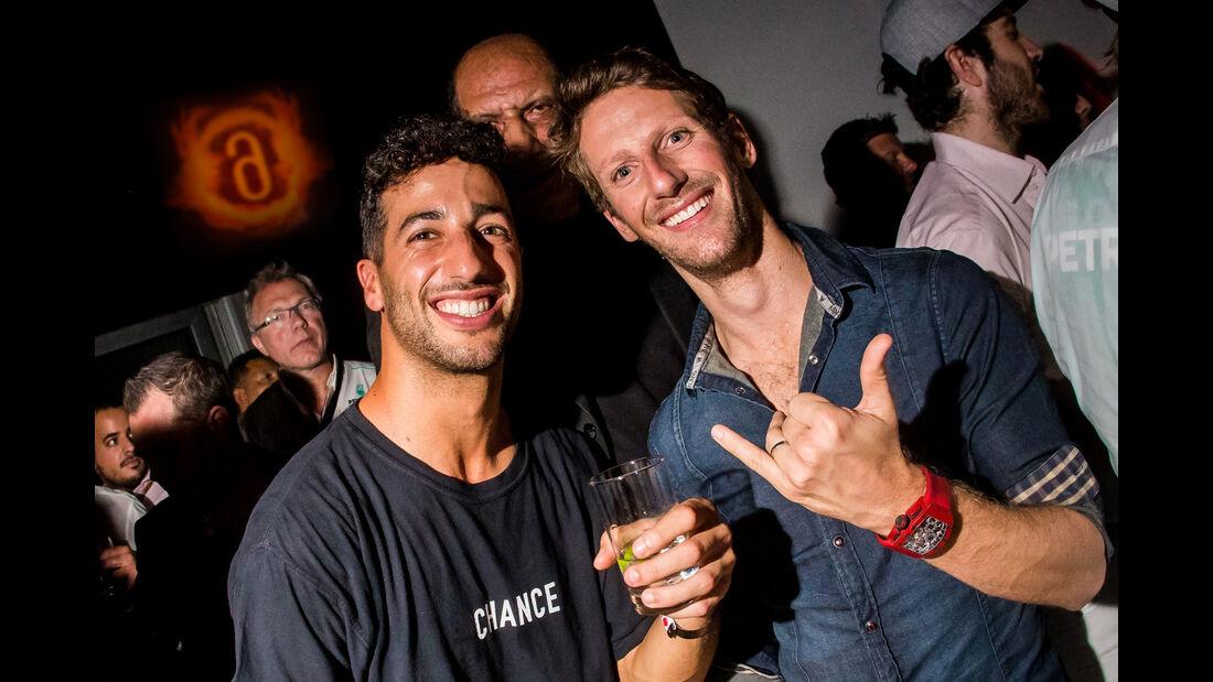 Ricciardo & Grosjean - Party Abu Dhabi - Amber Lounge 2016