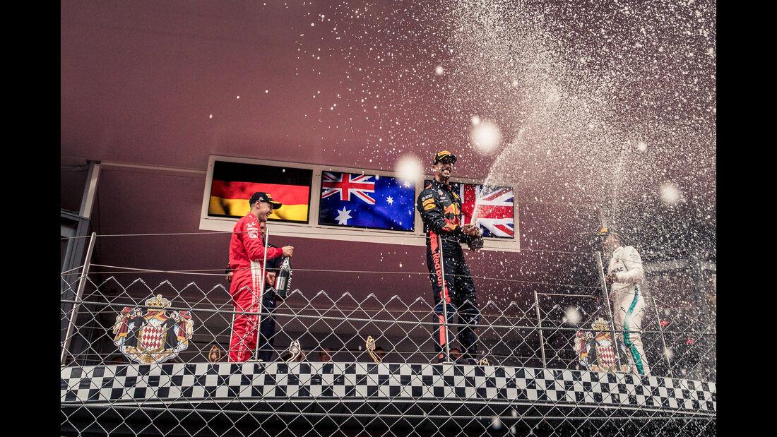 Ricciardo - Vettel - Hamilton - GP Monaco 2018 - Rennen