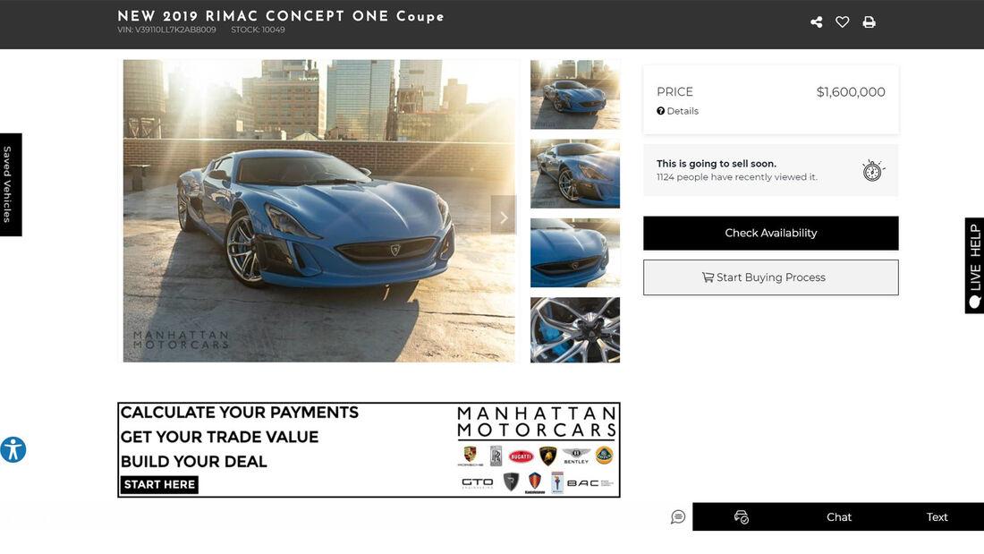 Rimac Concept One Verkauf Elektrosportwagen