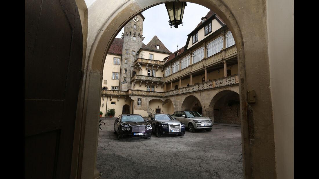 Rolls-Royce Ghost, Bentley Flying Spur, Range Rover 5.0 V8 SC, Heckansicht