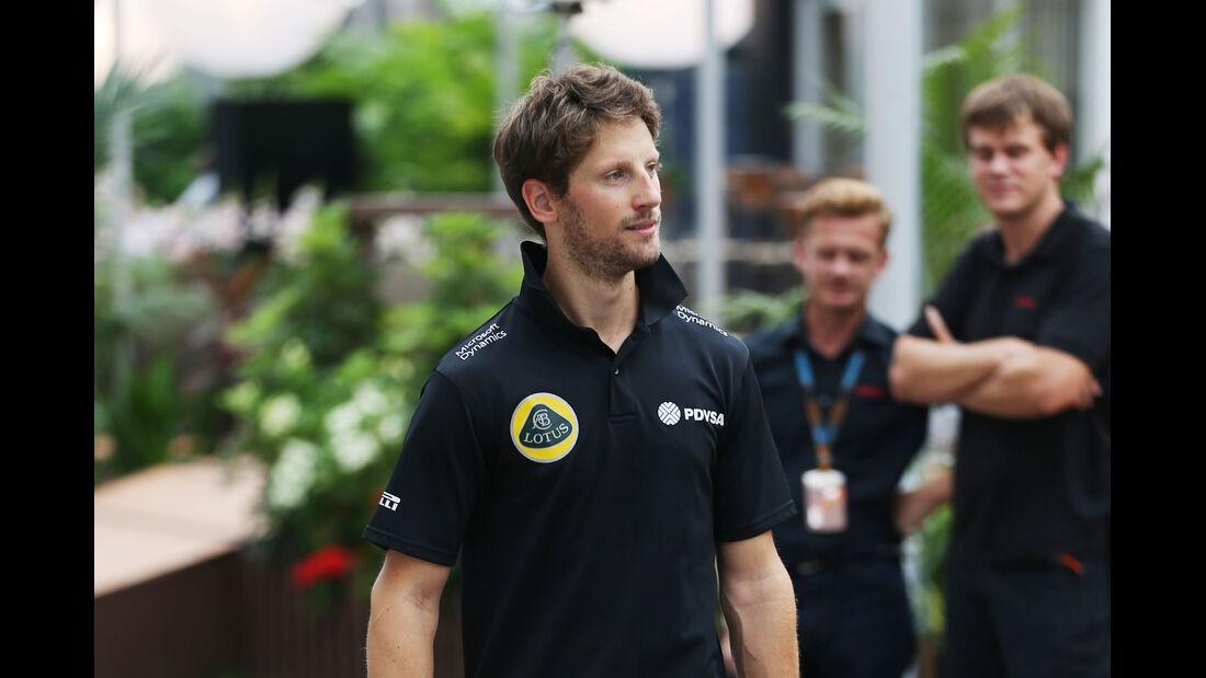 Romain Grosjean - Lotus - Formel 1 - GP Singapur - 17. September 2015