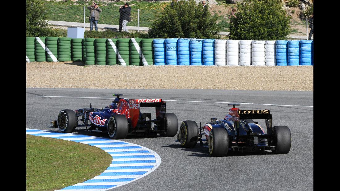 Romain Grosjean, Lotus Renault GP, Daniel Ricciardo, Toro Rosso, Formel 1-Test, Jerez, 6.2.2013