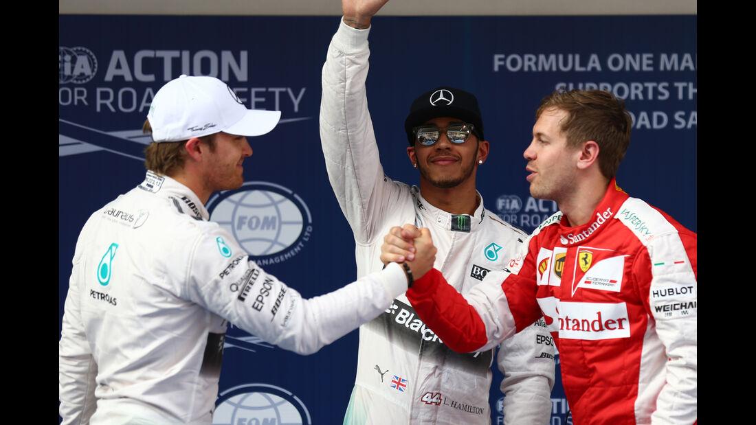 Rosberg, Hamilton & Vettel - Formel 1 - GP China - Shanghai - 11. April 2015