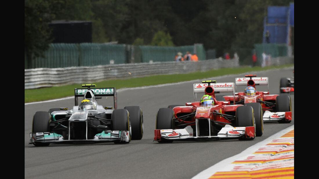 Rosberg & Massa Rennen GP Belgien 2011