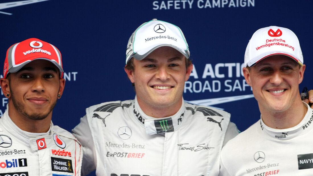 Rosberg, Schumacher & Hamilton - GP China 2012 - Qualifikation