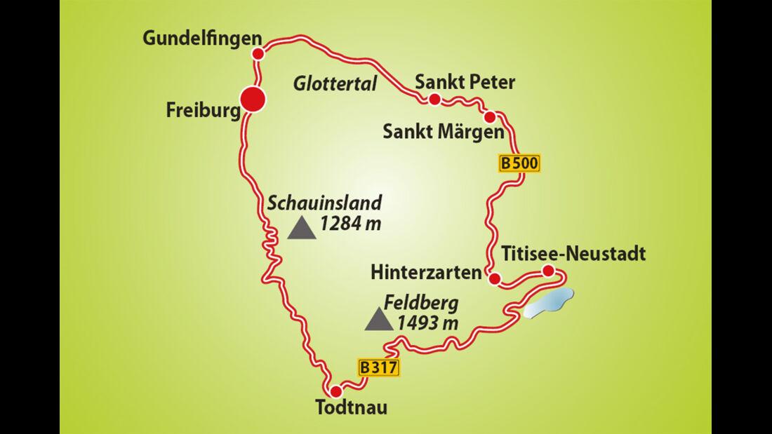 Route Reise Schwarzwald