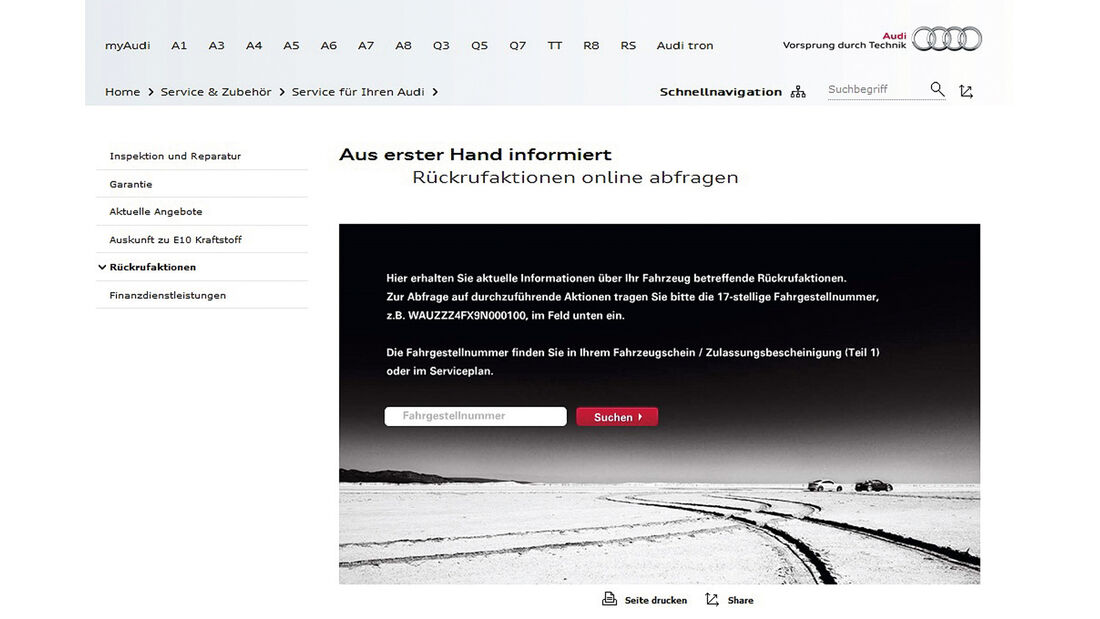 Rückrufaktionen, Audi