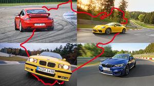 Rundenzeit-Entwicklung Nordschleife, BMW M3/M4, Porsche 911 GT3
