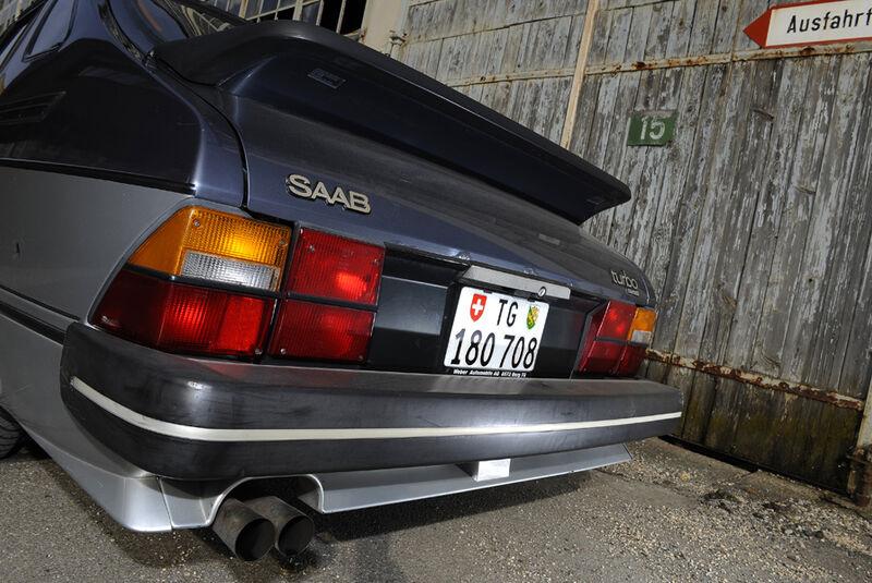 Saab 900 Turbo DeLuxe, Baujahr 1984 Heckpartie Spoiler