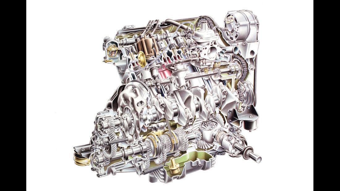 Saab 99, Motor, Getriebe