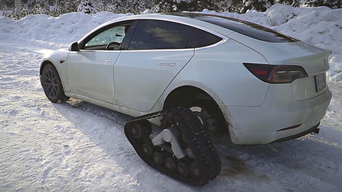 Schneemobil Ketten Tesla Model 3