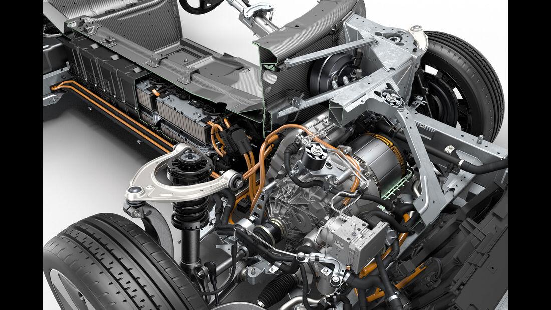 Schnittbild Elektromotor/Antriebseinheit und Traktionsbatterien im BMW i8
