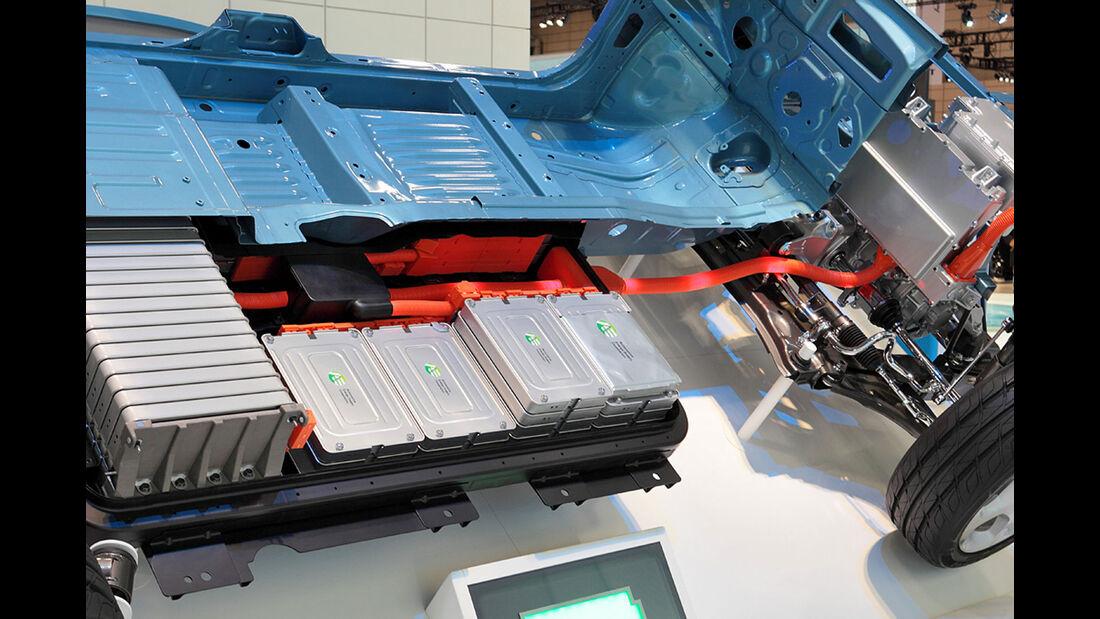 Schnittmodell der Traktionsbatterie im Nissan Leaf.