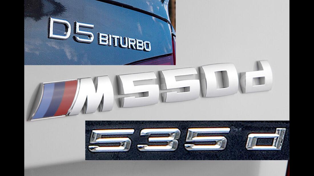 Schriftzug M 550d, 535d, D5 Biturbo