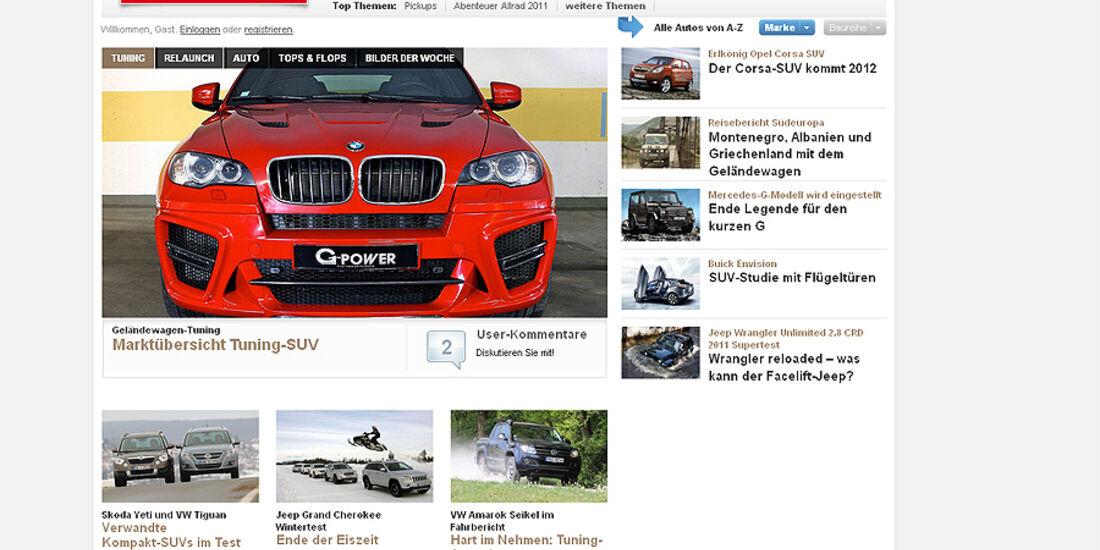 Screenshot 4wheelfun.de, Relaunch, 2011