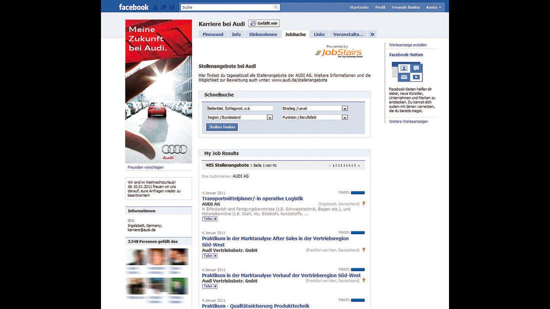 Screenshot Autohersteller auf Facebook, Audi