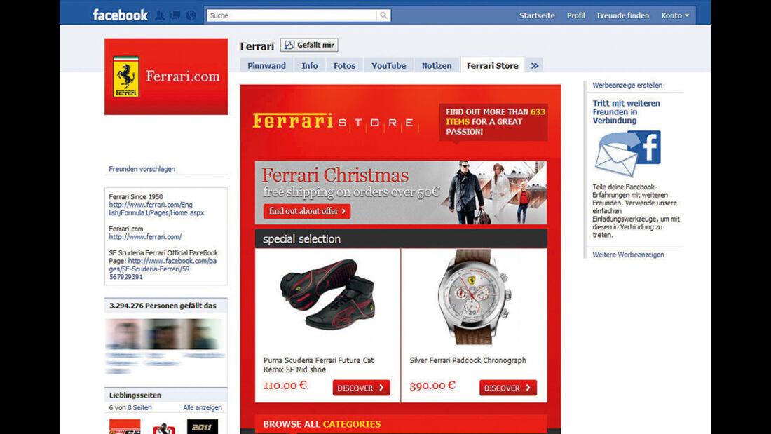 Screenshot,  Autohersteller auf Facebook, Ferrari