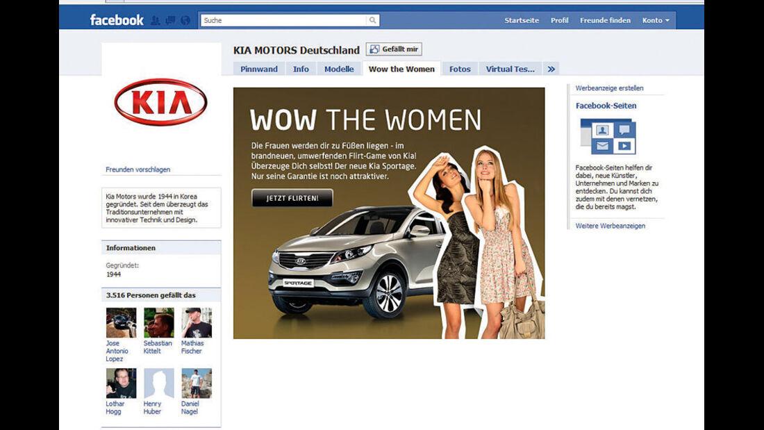 Screenshot Autohersteller auf Facebook, Kia