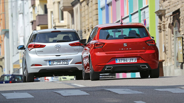 Seat Ibiza 1.0 EcoTSI, Hyundai i20 Blue 1.0 T-GDI Heck