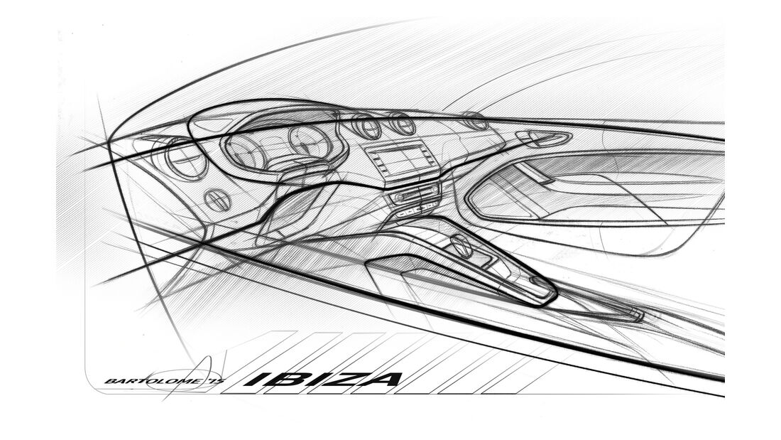 Seat Ibiza 2015 Cockpit Skizze