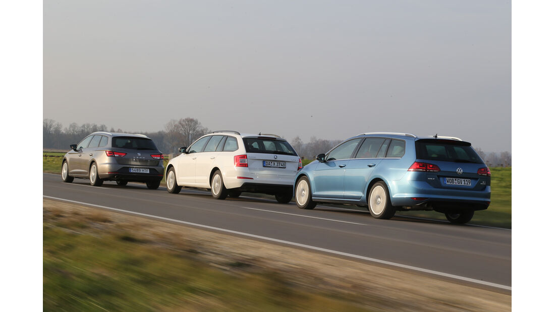 Seat León ST 1.4 TSI, Skoda Octavia Combi 1.4 TSI, VW Golf Variant 1.4 TSI, Heck