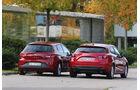 Seat Leon 2.0 TDI, Mazda 3 Skyaktiv D 150, Heckansicht