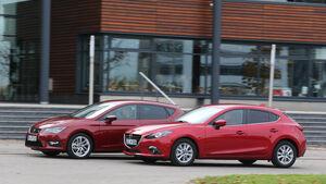 Seat Leon 2.0 TDI, Mazda 3 Skyaktiv D 150, Seitenansicht