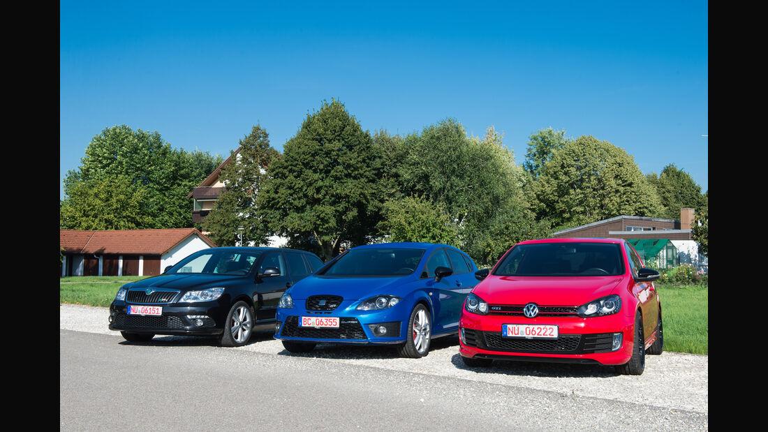 Seat Leon Cupra R, Skoda Octavia RS, VW Golf GTI