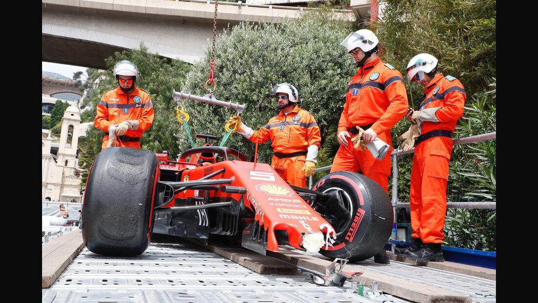 Sebastian Vettel - Crash - Ferrari - Formel 1 - GP Monaco - 25. Mai 2019