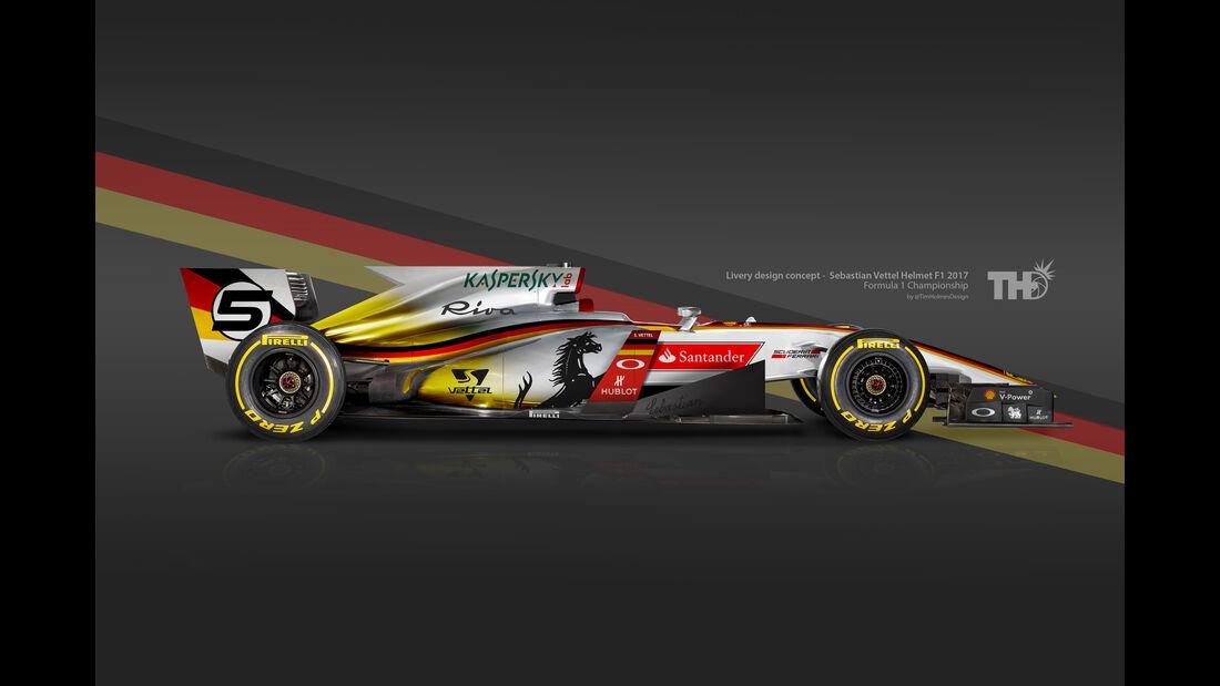 Sebastian Vettel - F1-Autos mit Helm-Lackierung - 2016