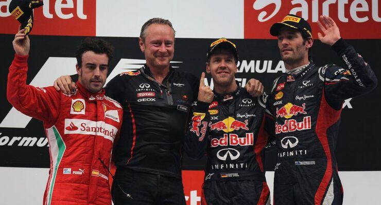 Sebastian Vettel Fernando Alonso Mark Webber Podium GP Indien 2012