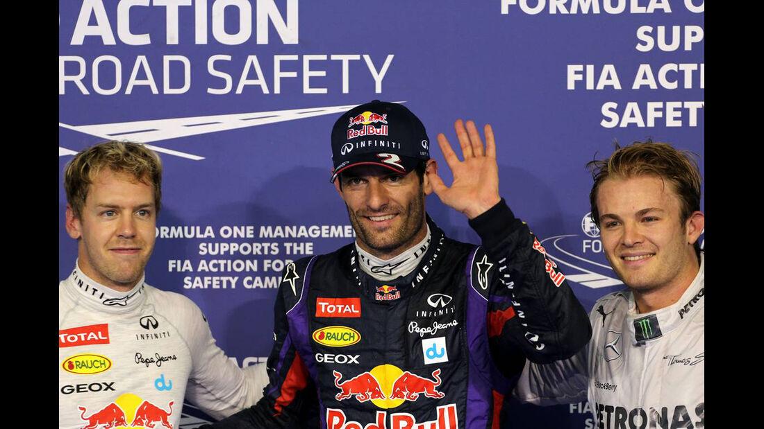 Sebastian Vettel - Mark Webber - Nico Rosberg - Formel 1 - GP Abu Dhabi - 02. November 2013