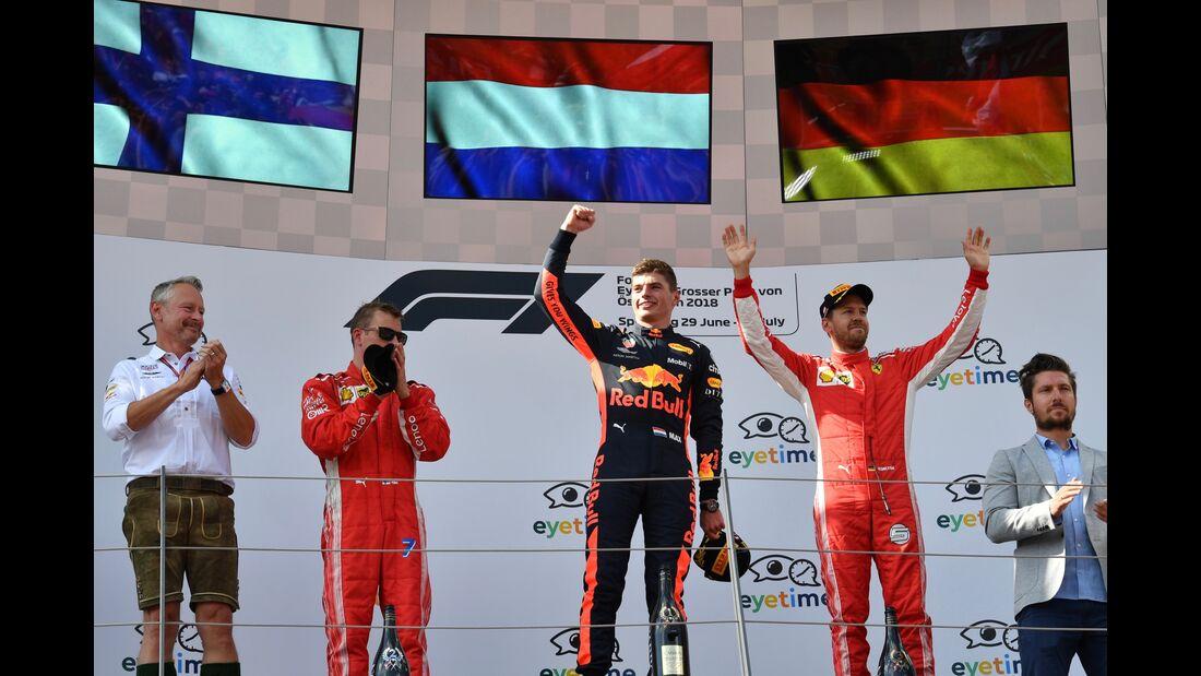 Sebastian Vettel - Max Verstappen - Kimi Räikkönen - Formel 1 - GP Österreich - 1. Juli 2018