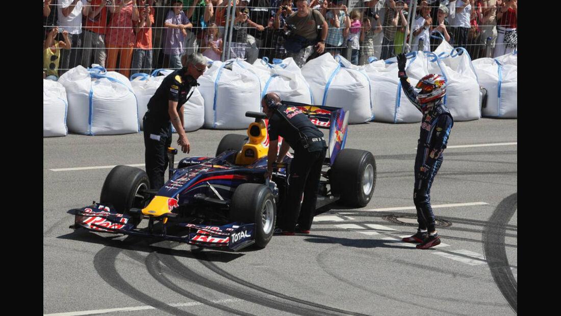 Sebastian Vettel und Mattias Ekström in Heppenheim