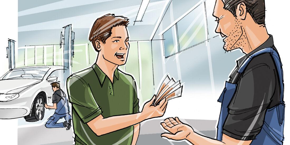 Selbstbeteiligung, Geldübergabe