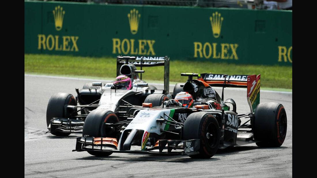 Sergio Perez - Force India - Jenson Button - McLaren  - Formel 1 - GP Italien - 7. September 2014