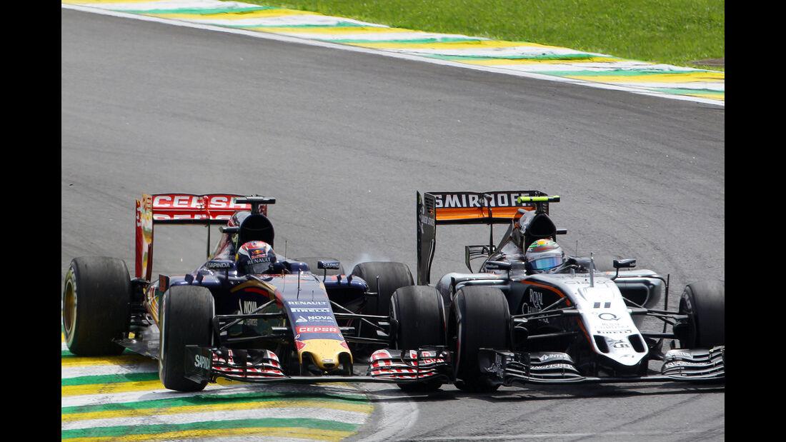 Sergio Perez - Force India - Max Verstappen - Toro Rosso - Formel 1 - GP Brasilien- 15. November 2015