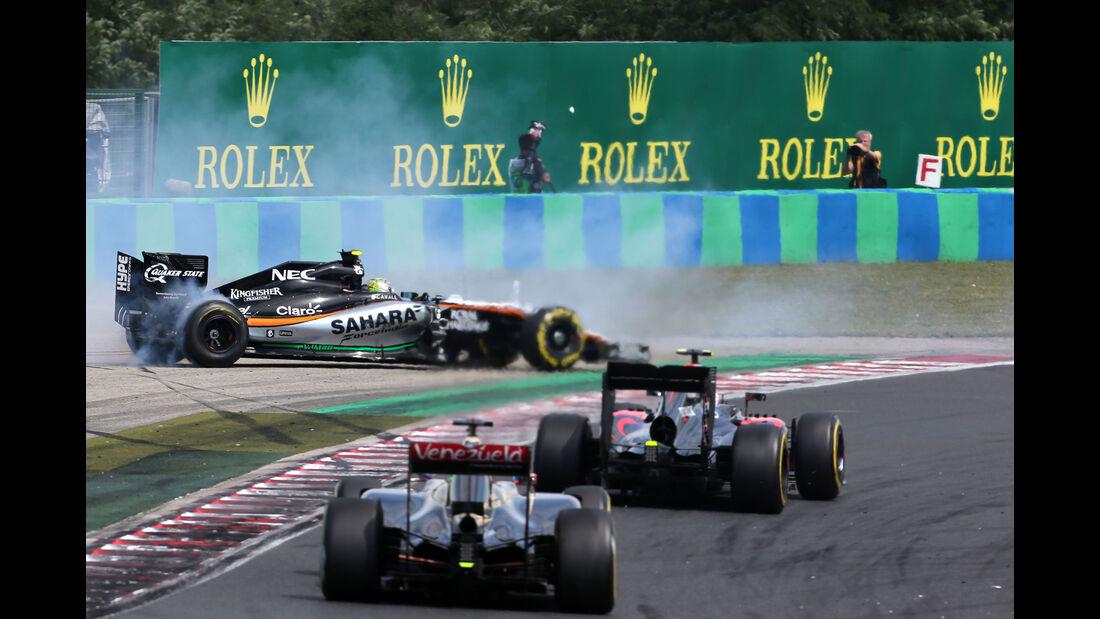Sergio Perez - Force India - Pastor Maldonado - Lotus - GP Ungarn - Budapest - Rennen - Sonntag - 26.7.2015