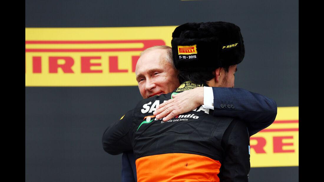 Sergio Perez - Force India - Wladimir Putin - GP Russland 2015 - Sochi - Rennen