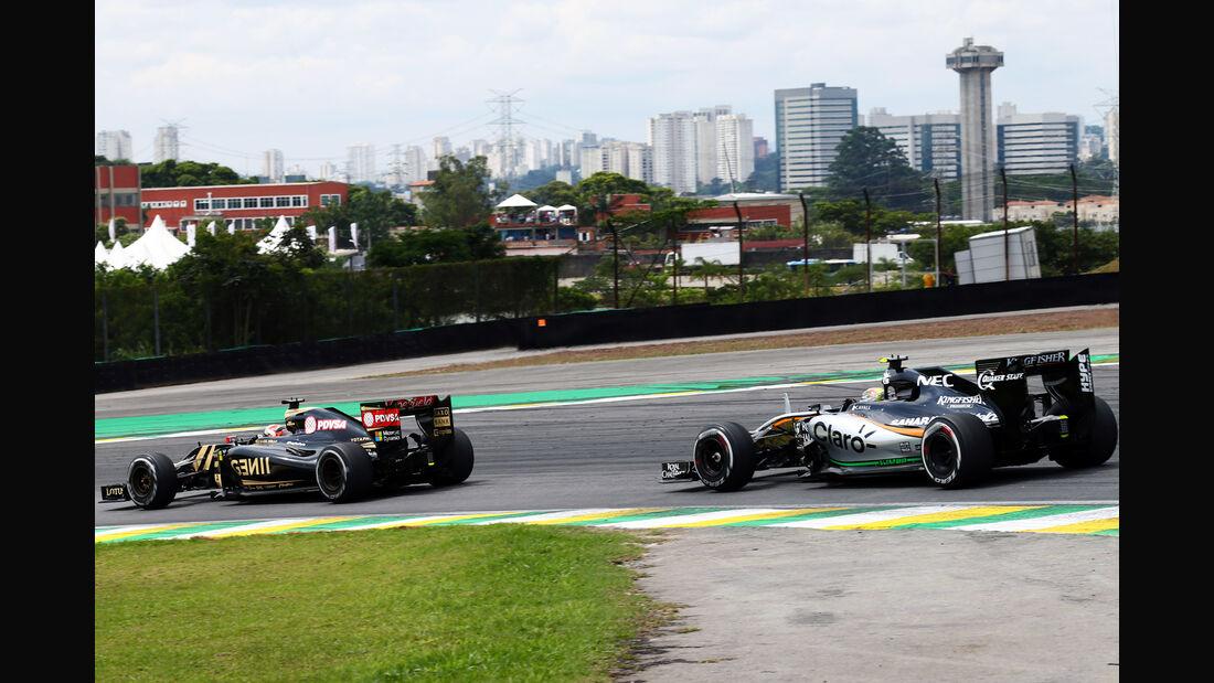 Sergio Perez - Romain Grosjean - Formel 1 - GP Brasilien- 15. November 2015