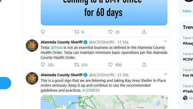 Sheriff schließt Tesla-Werk in Kalifornien