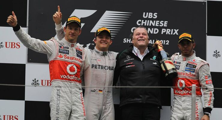 Siegerpodest  - Formel 1 - GP China - 15. April 2012