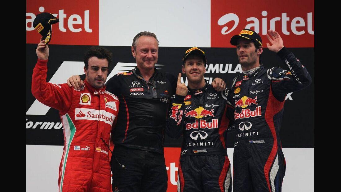 Siegerpodest  - Formel 1 - GP Indien - 28. Oktober 2012