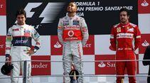 Siegerpodest Lewis Hamilton Sergio Perez Fernando Alonso  - Formel 1 - GP Italien - 09. September 2012