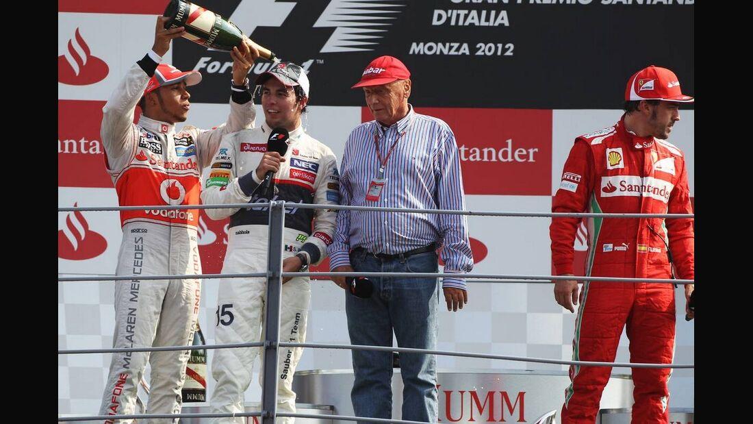Siegerpodest Niki Lauda  - Formel 1 - GP Italien - 09. September 2012